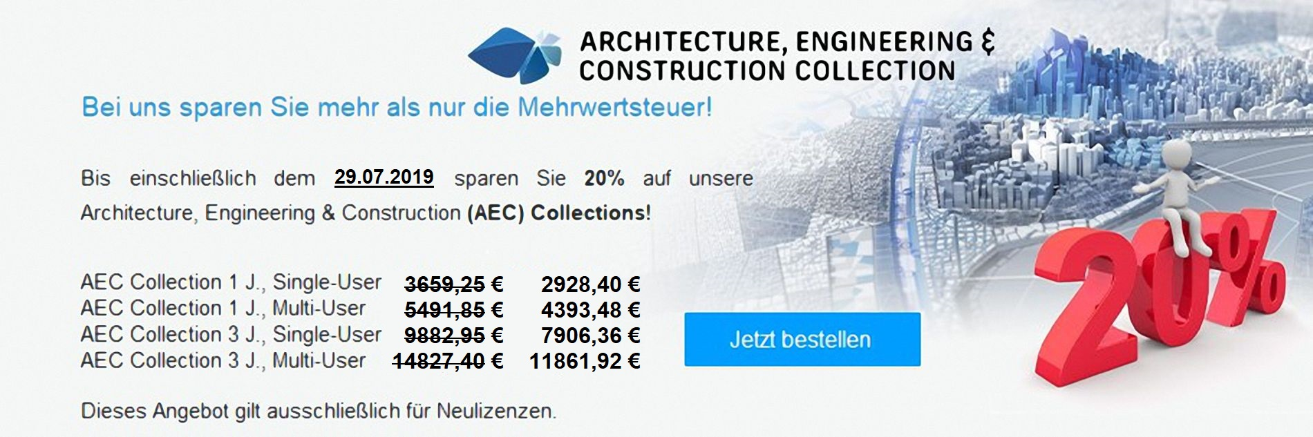 Autodesk Architecture, Engineering & Construction (AEC) Collection 20 Prozent Rabatt Aktion